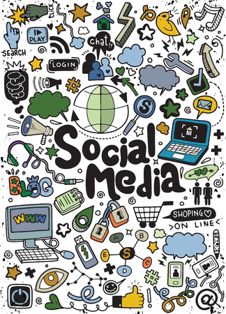 Objects and symbols on the Social Media element. Vector illustration.