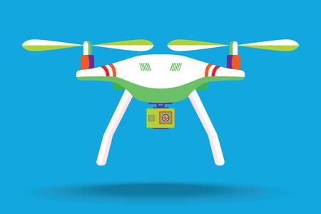 Copter of quadcopter met modern cameraontwerp. Vector illustratie. Plat ontwerp. Quadcopter met camera. Vectorkunst op geïsoleerde achtergrond. Plat ontwerp. Stock Illustratie