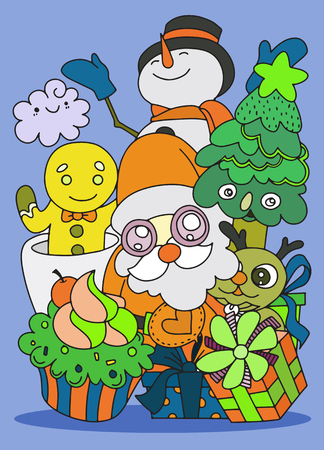 Merry Christmas! Happy Christmas companions. Santa Claus, Snowman, Reindeer and Ginger ,Hand Drawn ,vector illustration.