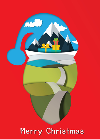 The asphalt road leads to a pile of gifts located in front of the mountain through green pastures.Santa Claus head, Paper art style vector illustration. Ilustração