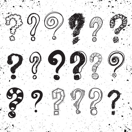 Set of hand drawn question marks. Vector illustration. Illusztráció