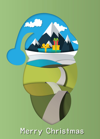 The asphalt road leads to a pile of gifts located in front of the mountain through green pastures.Santa Claus head, Paper art style vector illustration.
