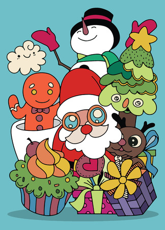 Merry Christmas! Happy Christmas companions. Santa Claus, Snowman, Reindeer and GInger ,Hand Drawn ,vector illustration Illustration