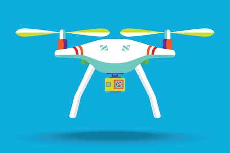 Drone icon. Copter or quadcopter with camera modern design. Vector illustration. Flat design. Quadcopter with camera.Vector art on isolated background. Flat design. Stock Illustratie