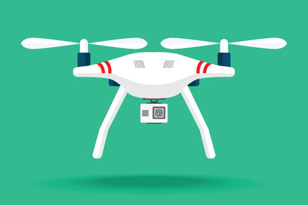 Drone pictogram. Copter of quadcopter met modern cameraontwerp. Vector illustratie. Plat ontwerp. . Quadcopter met camera. Vectorkunst op geïsoleerde achtergrond. Plat ontwerp.