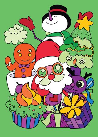 Merry Christmas! Happy Christmas companions. Santa Claus, Snowman, Reindeer and GInger ,Hand Drawn ,vector illustration Illusztráció