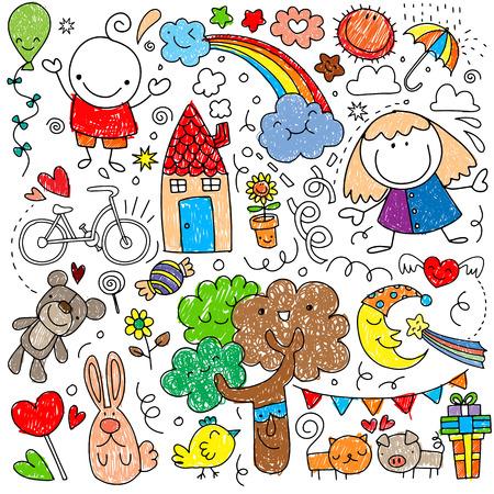 Colección de lindos dibujos infantiles de niños, animales, naturaleza, objetos.Ilustración de vector Foto de archivo - 91095985