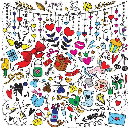 Valentine's Day Love & Hearts Doodles Design Elements on Lined Sketchbook Vector Illustration 일러스트