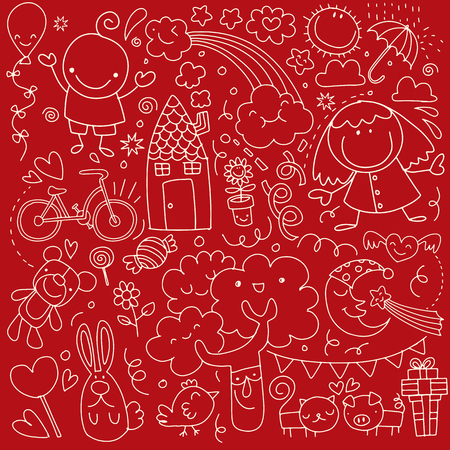 Collection of cute childrens drawings on red background. Illustration