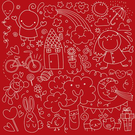 Verzameling van schattige kindertekeningen op rode achtergrond.