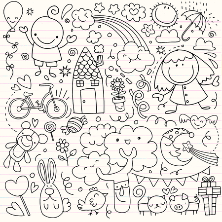 Colección de lindos dibujos infantiles de niños, animales, naturaleza, objetos.Ilustración de vector Foto de archivo - 91080364