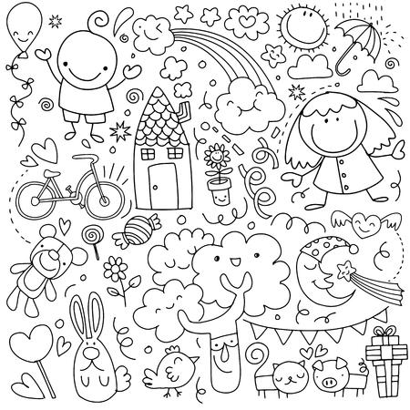 Verzameling van schattige kindertekeningen op witte achtergrond. Stockfoto - 91080120