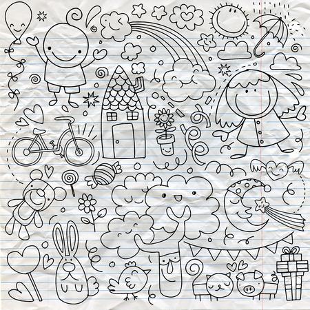 Coleção de desenhos de crianças cute de crianças, animais, natureza, objetos. Ilustração vetorial Foto de archivo - 91080362
