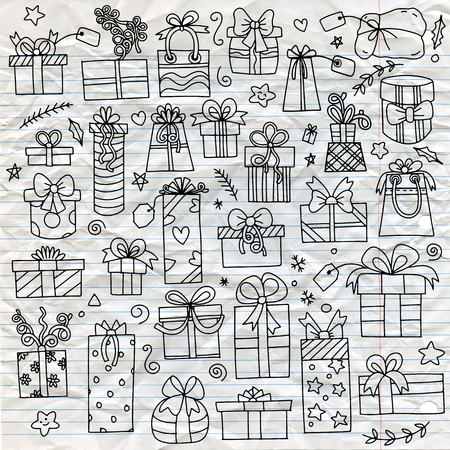 Hand drawn gift boxes set.vector pattern with hand drawn gift boxes. May be used as a coloring book Illustration