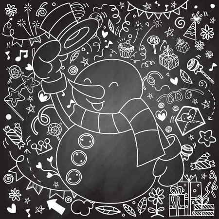 Snowman character .Cute cartoon funny character with Christmas decorations background. Greeting card.Merry Christmas, Happy New Year. Pattern for adult coloring book, Flat design. Vector illustration Illustration