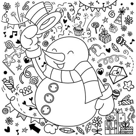 Snowman character .Cute cartoon funny character with Christmas decorations background. Greeting card.Merry Christmas, Happy New Year. Pattern for adult coloring book, Flat design. Vector illustration Ilustrace
