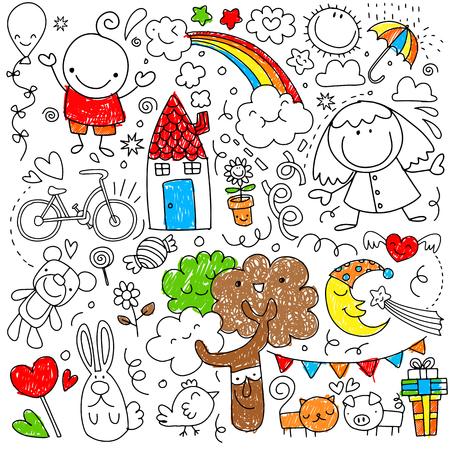 Verzameling van schattige kindertekeningen van kinderen, dieren, natuur, objecten. Vectorillustratie