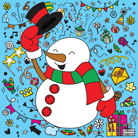 Cute funny snowman character on christmas elements background. Illustration