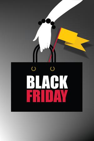 woman hand hold shop bag. Black Friday sale inscription design template. Black Friday banner. Vector illustration Stock Vector - 91080620