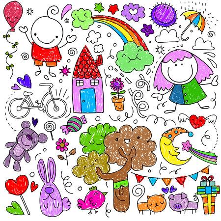 Coleção de desenhos de crianças cute de crianças, animais, natureza, objetos. Ilustração vetorial Foto de archivo - 91086100