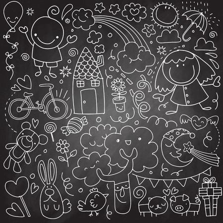 Verzameling van schattige kindertekeningen van kinderen, dieren, natuur, objecten. Vectorillustratie Stockfoto - 91086102