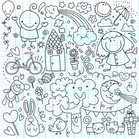 Collection of cute childrens drawings on white background.