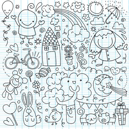Verzameling van schattige kindertekeningen op witte achtergrond. Stock Illustratie