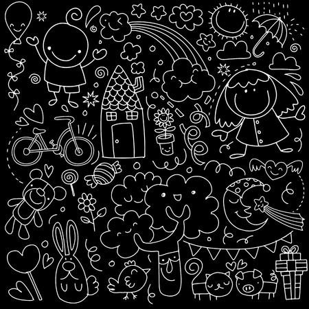 Coleção de desenhos de crianças cute de crianças, animais, natureza, objetos. Ilustração vetorial Foto de archivo - 91086108