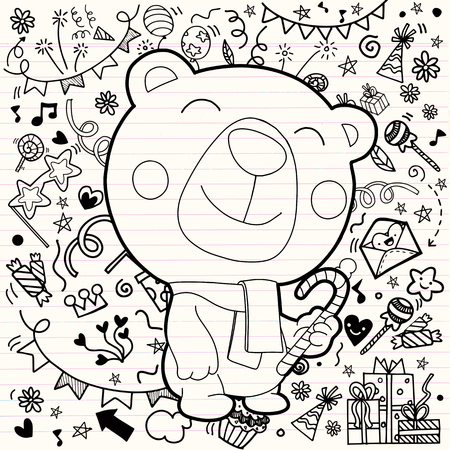 Christmas card of polar bear with scarf . Christmas decorations background. Greeting card.Merry Christmas, Happy New Year. Pattern for adult coloring book, Flat design. Vector illustration