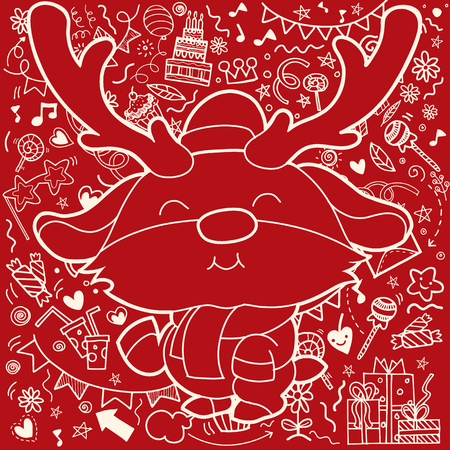 Christmas card of Funny Christmas Reindeer . Christmas decorations background.