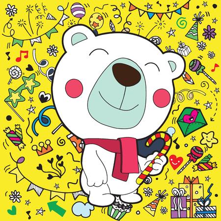 Christmas card of polar bear with scarf . Christmas decorations background.