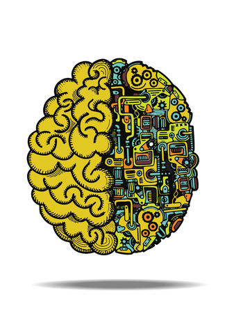 Hand drawn vector illustration of human machine brain with detailed combined human brain, with automatic computing engine equipment. Illusztráció