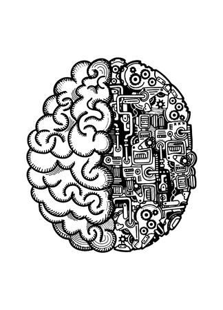 Hand Drawn Vector Illustration of Human machine brain with detailed combined human brain with automatic computing engine equipments.