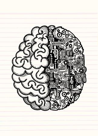 인간의 두뇌와 자동 컴퓨팅 엔진 장비를 결합 된 인간의 기계 두뇌의 손으로 그린 된 벡터 일러스트 레이 션.