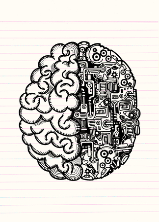 Hand drawn vector illustration of human machine brain with detailed combined human brain and automatic computing engine equipment.