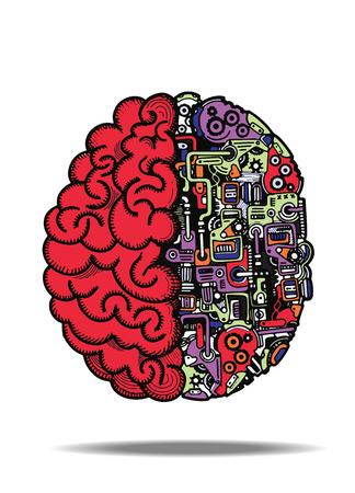 손으로 그린 벡터 일러스트 레이 션의 인간의 두뇌와 인간의 두뇌와 상세한 결합 된 자동 컴퓨팅 엔진 장비와 두뇌. 일러스트