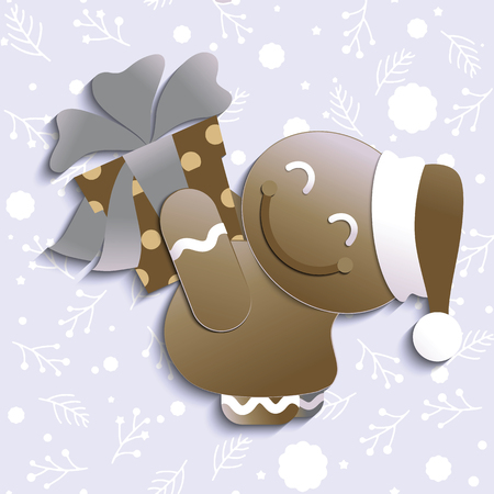 Christmas card with a ginger-bread and gift box , cute gingerbread holding big ribbon bow wrapped gift box in front of him in arms. Vector illustration.
