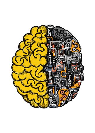 手描画ベクトル図のマシンを用いたひと脳自動計算エンジン機器の詳細な複合脳。