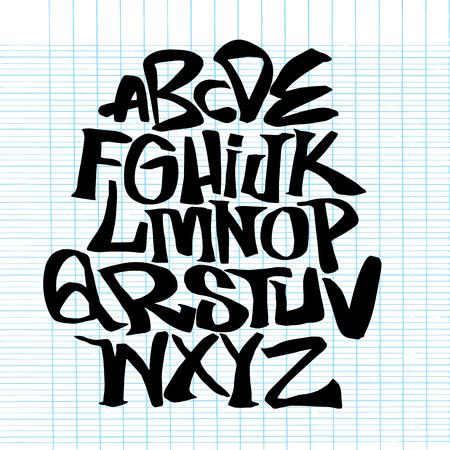 手書きスケッチ フォント。ベクトルアルファベット。