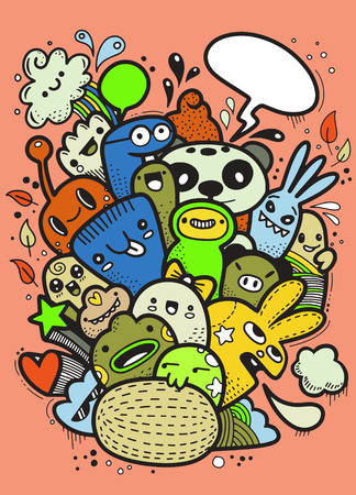 Hipster Hand drawn Crazy doodle Monster group, drawing style. Vector illustration. Vettoriali
