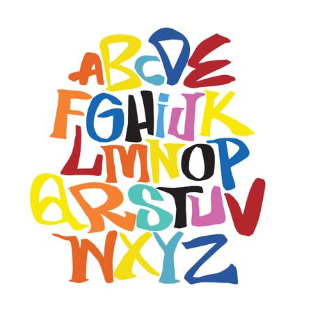 손 글자 스케치 글꼴입니다. 벡터 알파벳