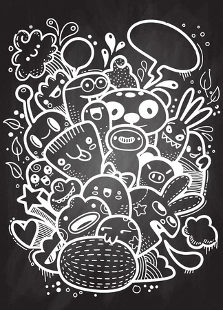 Hipster Hand drawn Crazy doodle Monster group, drawing style. Vector illustration. Ilustracja