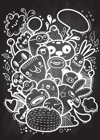 Hipster Hand getrokken Crazy doodle Monster groep, tekenstijl. Vector illustratie.