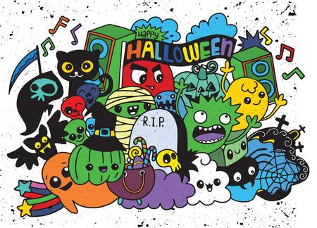 Een vectorillustratie van Monsters en leuke vriendelijke, koele, leuke hand-drawn monsterscollectie van het spook