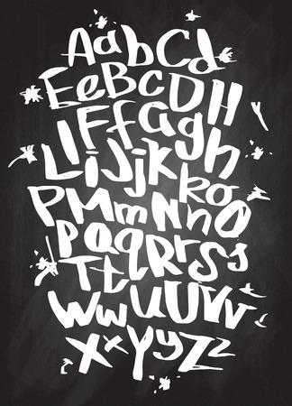 Hand lettering sketch font. Vector alphabet 向量圖像