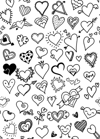 Hand drawn hearts. Design elements for Valentine's day.Vector illustration,flat design Иллюстрация