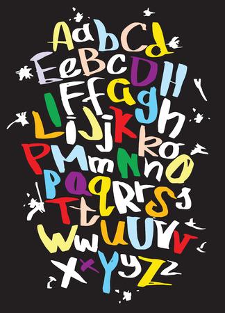 Hand lettering sketch font. Vector alphabet Vettoriali