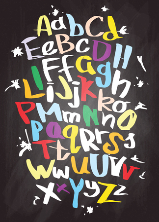 Hand lettering sketch font. Vector alphabet Illustration