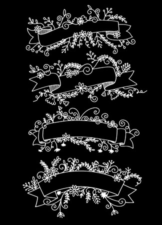 Collection of Hand Drawn Doodle Design Elements. Sketched Rustic Decorative Banners, Dividers, Ribbons with Floral Swirls and Branches. Vintage Outlined Vector Illustration.  イラスト・ベクター素材