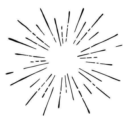Sun burst, star burst sunshine. Radiating from the center of thin beams, lines. Design element for icon, signs. Dynamic style abstract explosion, speed motion lines from the middle. 免版税图像 - 91704651